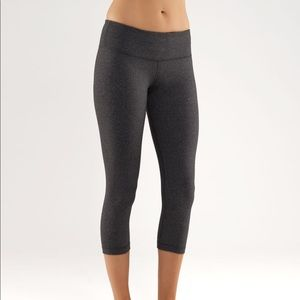Lululemon Wunder Under Crop In Heathered Black